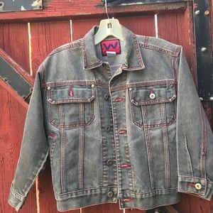 Grey Denim Jacket with Red Stitching